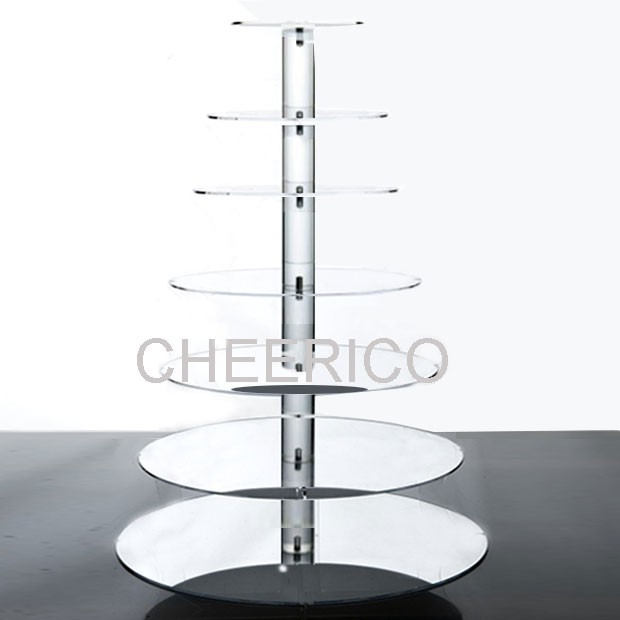 7 Tier Mirrored Effect Maypole Acrylic Round Cupcake Stand