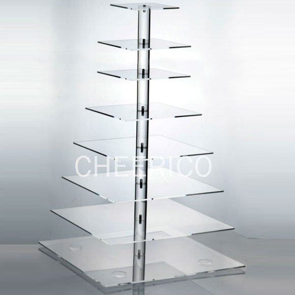 8 Tier Acrylic Square Maypole Cupcake Stand Display
