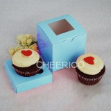 25 sets of Baby Blue Cupcake Box with 1 Blue Cupcake Holder($1.15 each set)