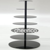 7 Tier Black Maypole Acrylic Round Cupcake Stand Display