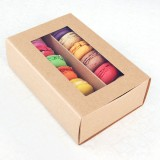 12 Macaron Kraft Brown Window Boxes ($2.30/pc x 25 units)