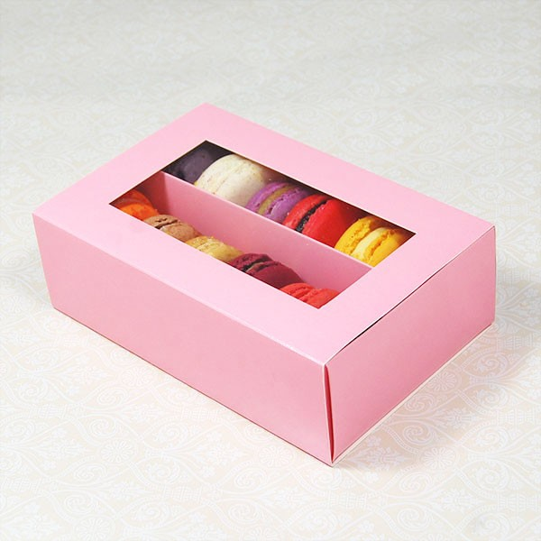 12 Pink Window Macaron Boxes ($2.30/pc x 25 units)