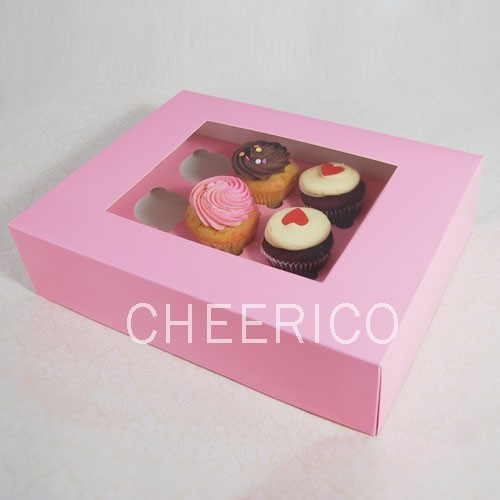 25 sets of Window Pink Cupcake Box with and 12 Cupcake Holder($2.30 each set)