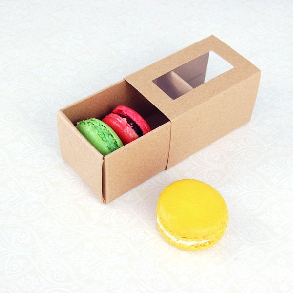 3 Macaron Kraft Brown Window Boxes($1.25/pc x 25 units)