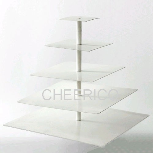 5 Tier Acrylic White Square Pole Cupcake Stand