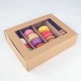 24 Macaron Kraft Brown Window Boxes ($2.80/pc x 25 units)